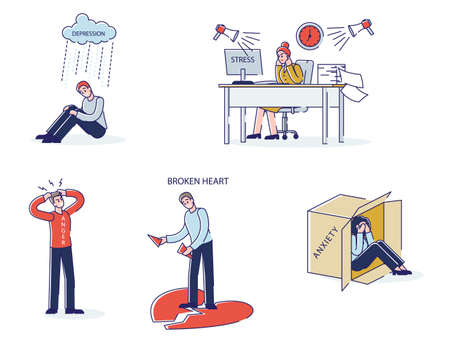 Set of cartoons with mental illnesses. Men and women in depression, overwork or anxiety Vektorové ilustrace
