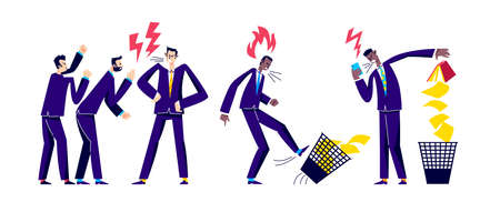 Angry businesspeople screaming. Business conflict and misunderstanding concept