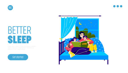 Landing page with mother reading to children before sleeping. Family bedtime concept