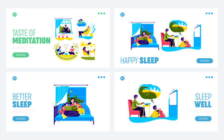Set of family bedtime activities with mom read story to kids in bed and father showing tales to son
