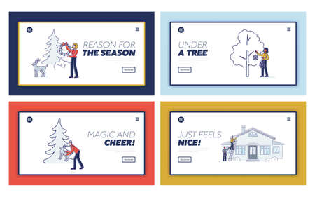 People put christmas decorations. Set of landing pages with cartoons decorate outdoors for holiday