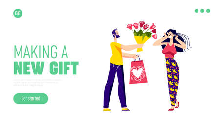 Man presenting woman gift and flowers for valentine day. Template landing page design