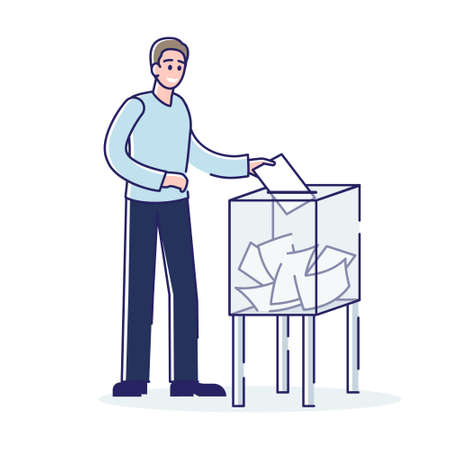 Man throwing voting ballot in ballot box during president or government election