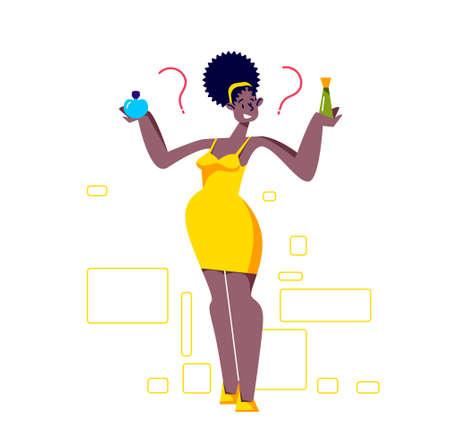 Woman choosing between two perfume scent. Cartoon female enjoy fragrance