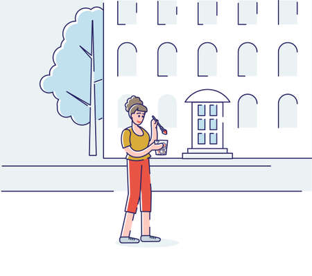 Young woman eating on the go. Cartoon female has breakfast moving to job or classes