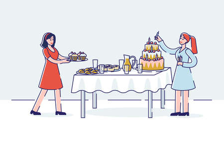 Birthday celebration preparation with two women serving holiday sweet table - big cake and cupcakes Illustration