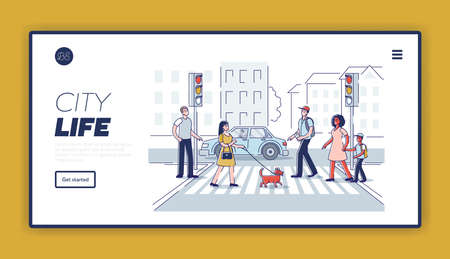Pedestrians on road. Landing page with people walking crosswalk on city street