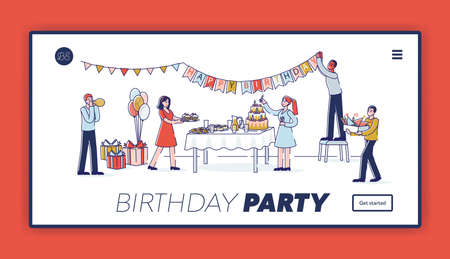Birthday party landing page template with happy cartoon characters decorating room