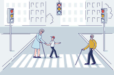 Aged people walking in city using stick for support crossing street in crosswalk
