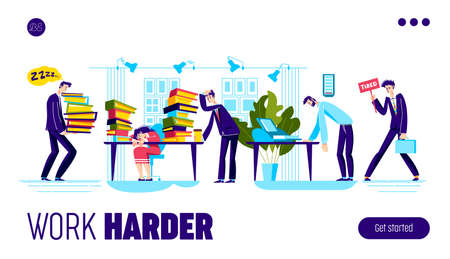 Work harder landing page design with tired overloaded business people team Vectores