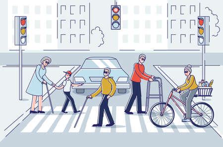 Senior men and women walking in city. Older people group crossing street holding sticks Illusztráció