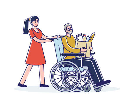 Social worker helping old man on wheelchair with grocery shopping. Female volunteer with senior male 矢量图像