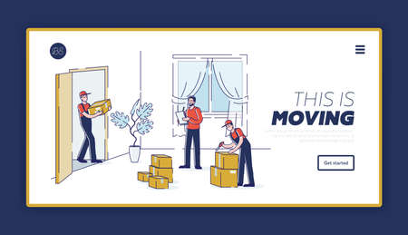 Moving house company landing page with workers unloading boxes during home relocation