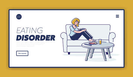Eating disorder landing page with woman suffering from stomach ache and appetite problems Illusztráció