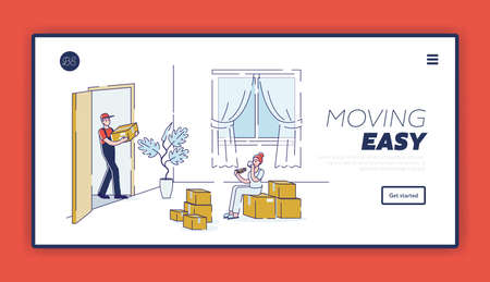 Moving easy with home relocation company help. Template landing page design