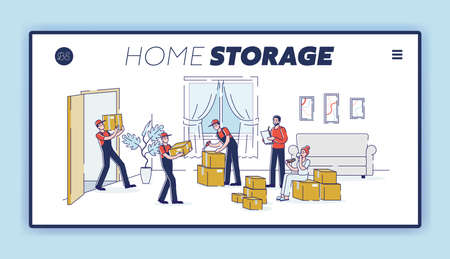 House moving service and home storage landing page template for delivery company website