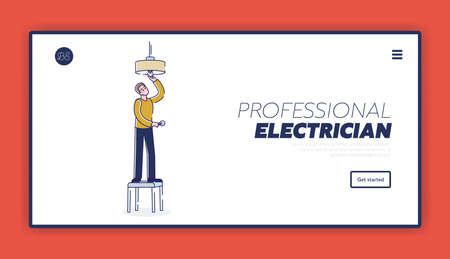 Repairman and electrician service website template for landing page with handyman working