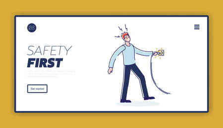 Electric safety landing page template with man getting electric shock from cord