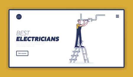 Landing page template for electric service company with electrician engineer fixing counter