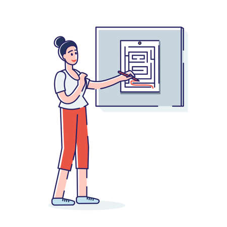Girl solving maze game looking for way out of printed labyrinth trying to solve task