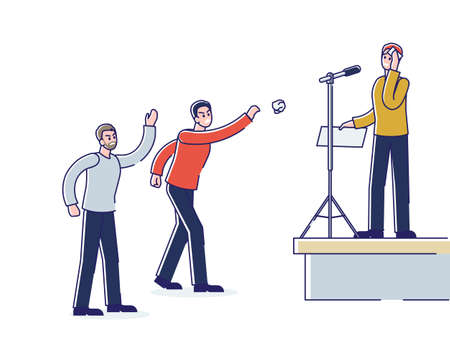 Nervous man speaking in public. Sweating cartoon male afraid of public performance standing on stage on front of microphone and angry people. Linear vector illustration