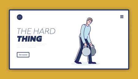 Man carrying heavy weights of unbearable burden. Template landing page design