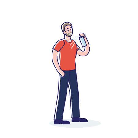 Man applying spray deodorant. Cartoon male character using antiperspirant 向量圖像