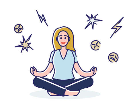 Woman practicing yoga and meditation. Girl sitting in the lotus position relaxed and concentrated