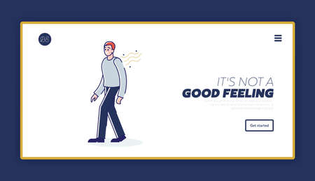 Problem of bad body smell landing page concept with stinky cartoon male character