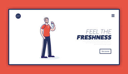 Freshness and hygiene landing page template with man applying spray deodorant