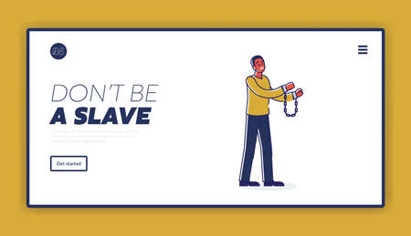 Dont be slave landing page template with african american man in handcuffs