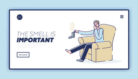 Stinky socks landing page template with man holding smelly sock and covering nose