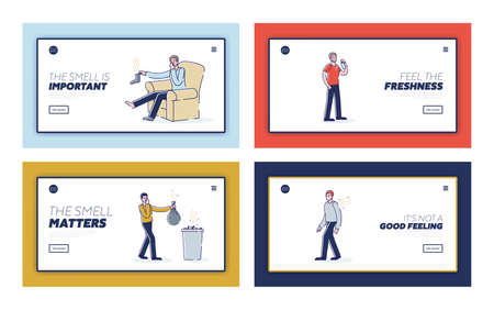 Set of landing pages with people suffering from bad smell from waste, socks and body Vektorové ilustrace