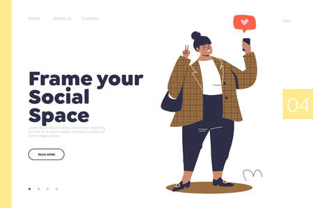 Landing page with social space concept and cartoon female taking selfie photo for social media