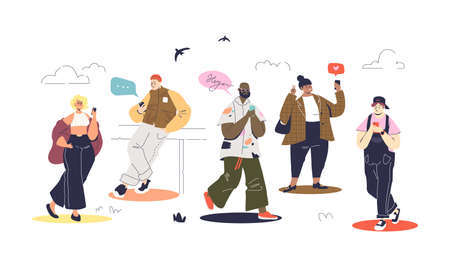 Set of modern people using smartphones and messaging walking. Cartoon characters chatting online