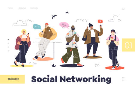 Social networking concept of landing page with people using smartphones for social media