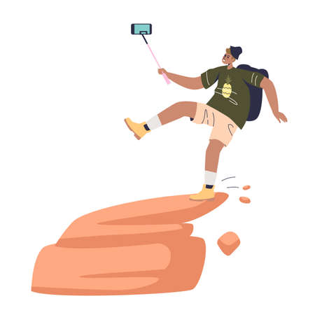 Man taking dangerous selfie and falling from mountain rock. Risk of selfie making concept
