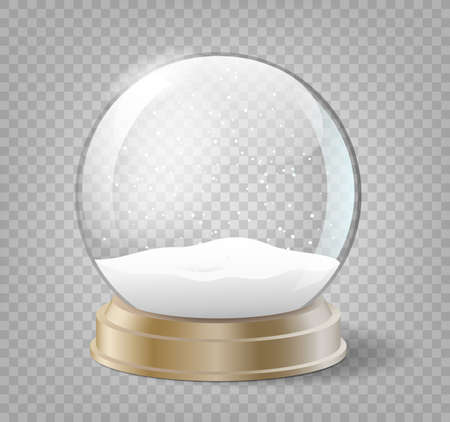 Christmas snow globe on transparent background. Glass sphere with snow for winter holiday events Vettoriali