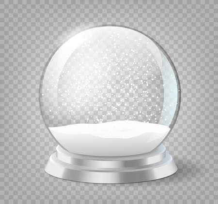 Snow globe. Christmas holiday snowglobe, empty glass xmas snowball template Stock Illustratie