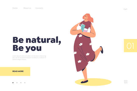 Natural cosmetics concept for landing page with cartoon girl holding bottles and jars