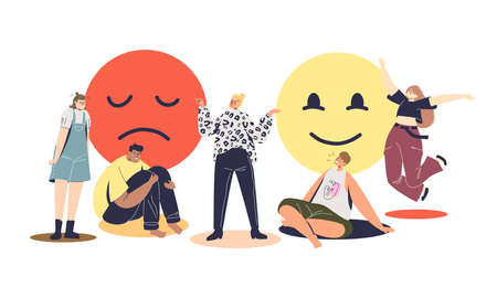 People in good and bad mood. Happy and upset cartoon characters in different emotions Vektorgrafik