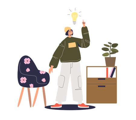 Young man with new creative idea for business startup, modern businessman with light bulb Ilustracja