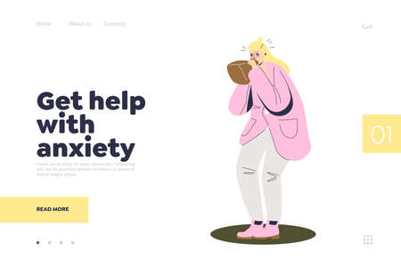 Help with anxiety landing page with cartoon woman breathing in paper bag Illustration