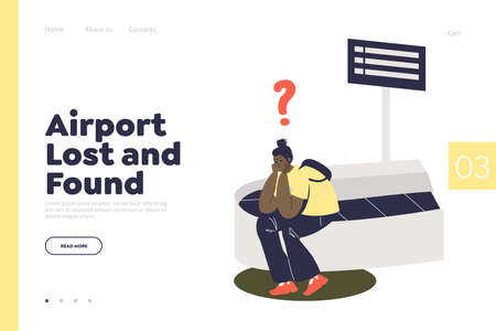 Airport lost and found service landing page template. Online office of returning lost luggage