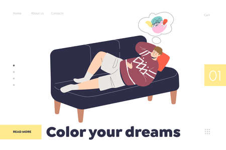 Imagination and dreaming landing page concept with man lying on sofa and imagining