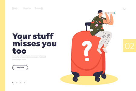 Airline service of finding lost baggage homepage for website template. Landing page design