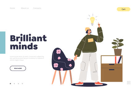 Brilliant mind and creative idea landing page concept with young man and light bulb