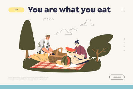 Healthy eating landing page for website with nutrition concept. You are what you eat