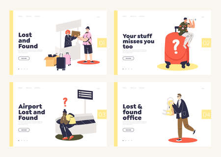 Set of landing pages for lost and found service websites or online offices