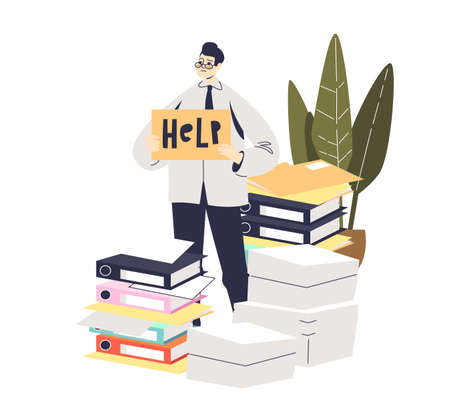 Stressed businessman needs help with paperwork. Cartoon business man over piles of documents